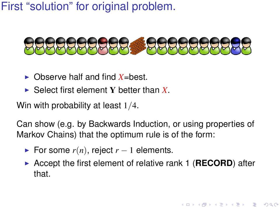 by Backwards Induction, or using properties of Markov Chains) that the optimum rule is