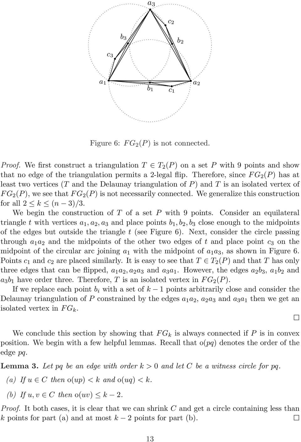 Therefore, since F G 2 (P ) has at least two vertices (T and the Delaunay triangulation of P ) and T is an isolated vertex of F G 2 (P ), we see that F G 2 (P ) is not necessarily connected.