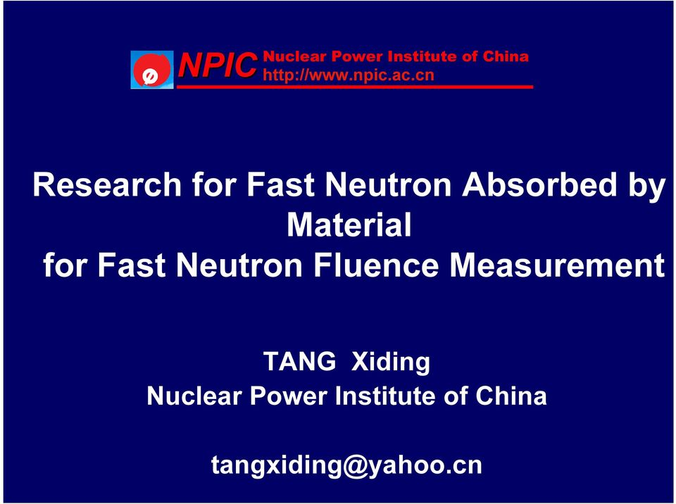 Measurement TANG Xdng Nuclear Power