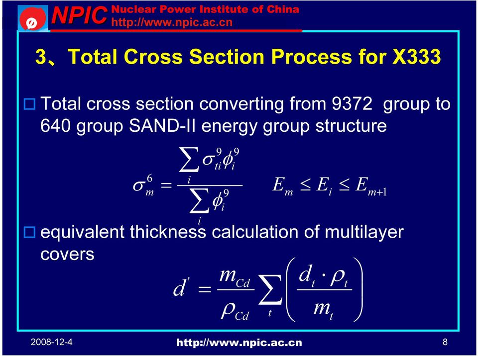 group structure 6 m = m+ 1 equvalent thckness calculaton
