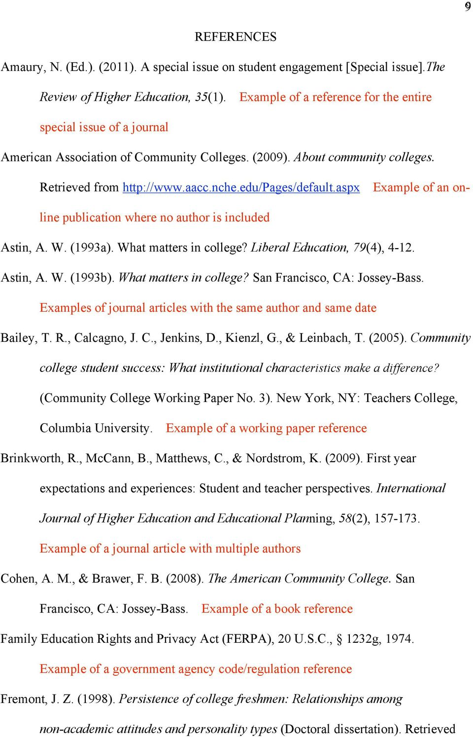 aspx Example of an online publication where no author is included Astin, A. W. (1993a). What matters in college? Liberal Education, 79(4), 4-12. Astin, A. W. (1993b). What matters in college? San Francisco, CA: Jossey-Bass.