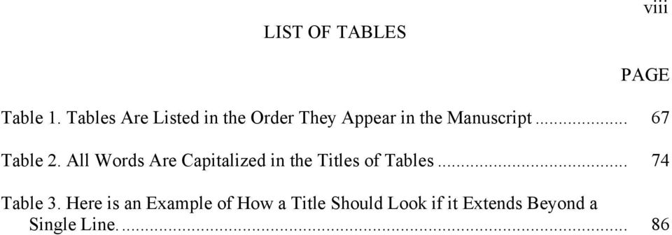 .. 67 Table 2. All Words Are Capitalized in the Titles of Tables.