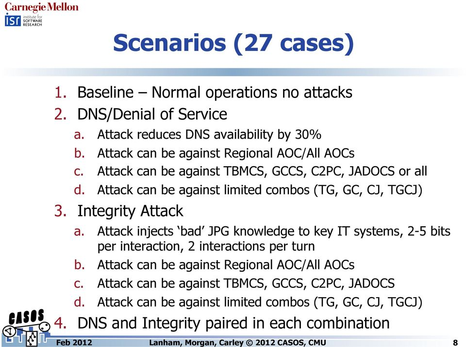 Attack can be against limited combos (TG, GC, CJ, TGCJ) 3. Integrity Attack a.