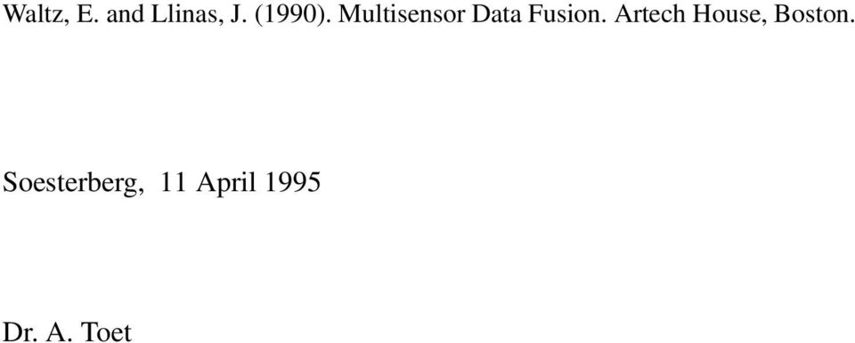 Multisensor Data Fusion.