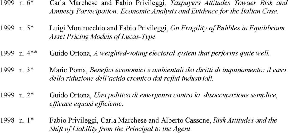 4** Guido Ortona, A weighted-voting electoral system that performs quite well. 1999 n.