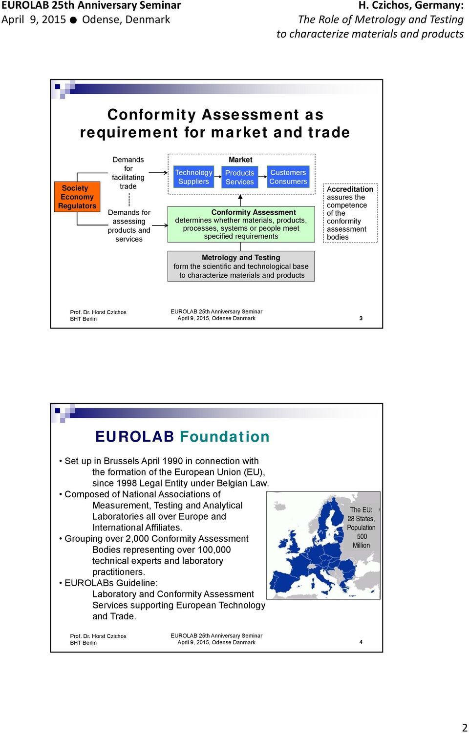 conformity assessment bodies Metrology and Testing form the scientific and technological base April 9, 2015, Odense Danmark 3 EUROLAB Foundation Set up in Brussels April 1990 in connection with the