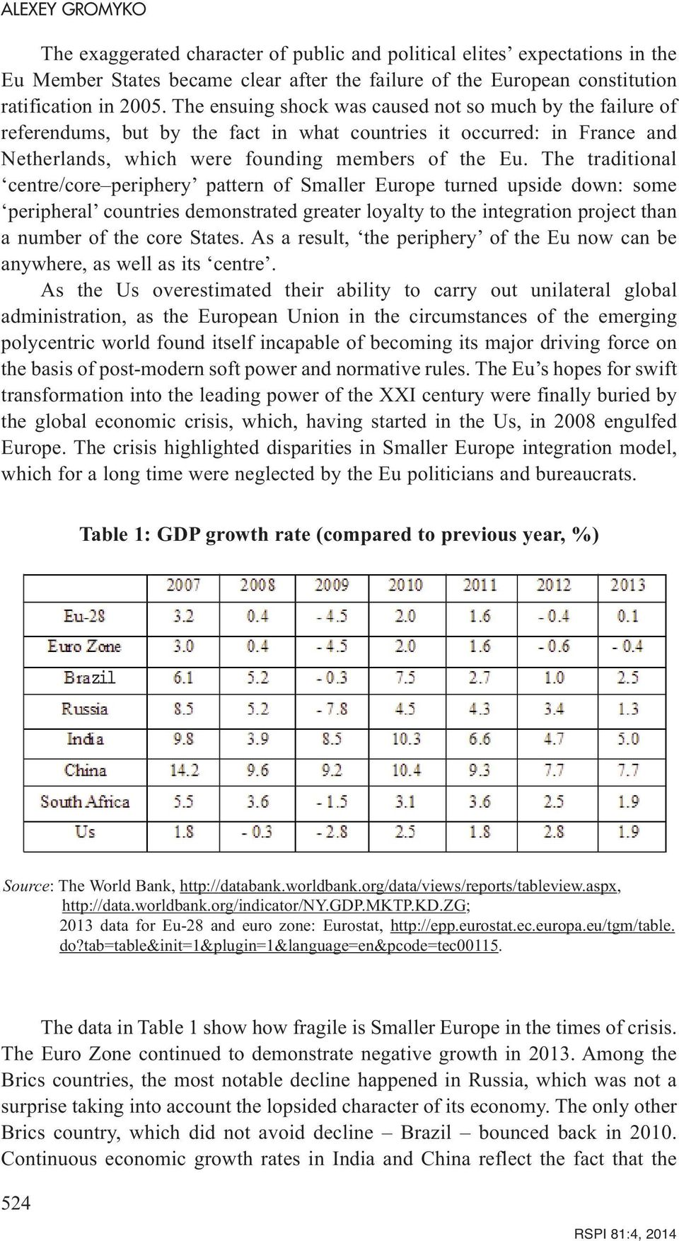The traditional centre/core periphery pattern of Smaller Europe turned upside down: some peripheral countries demonstrated greater loyalty to the integration project than a number of the core States.