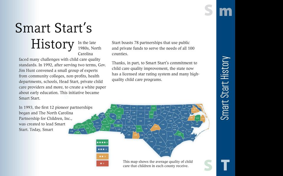 education. This initiative became mart tart. In 1993, the first 12 pioneer partnerships began and The North Carolina Partnership for Children, Inc., 4.04 was created to lead mart 4.09 4.00 4.56 tart.