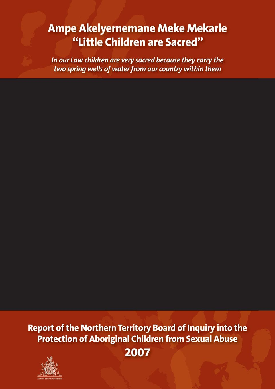 water from our country within them Report of the Northern Territory