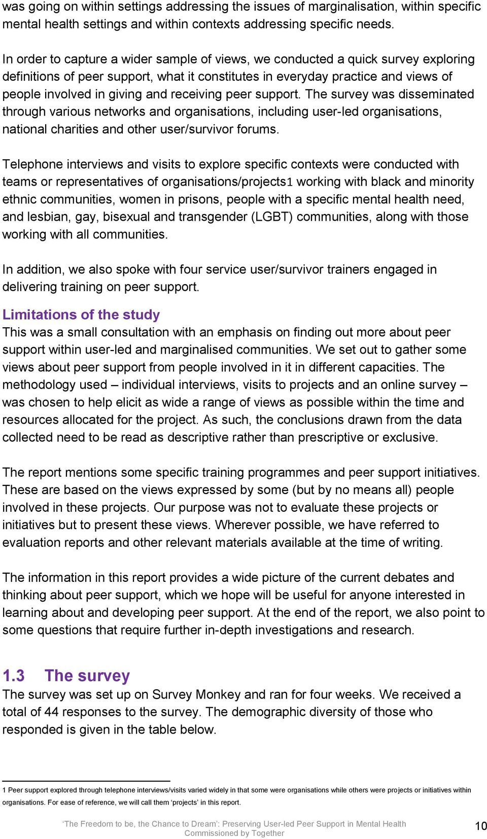 receiving peer support. The survey was disseminated through various networks and organisations, including user-led organisations, national charities and other user/survivor forums.