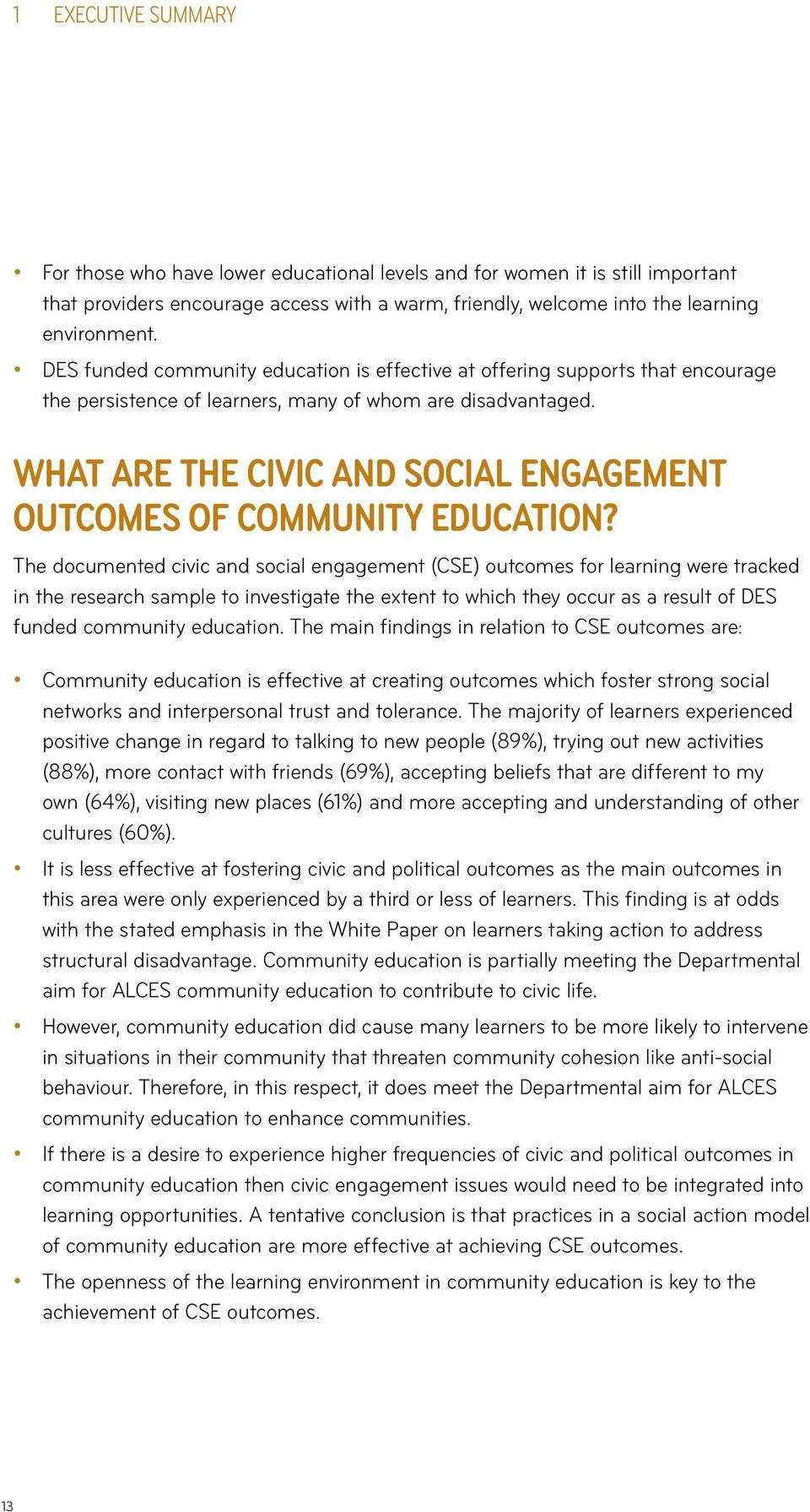 What are the Civic and Social Engagement Outcomes of Community Education?