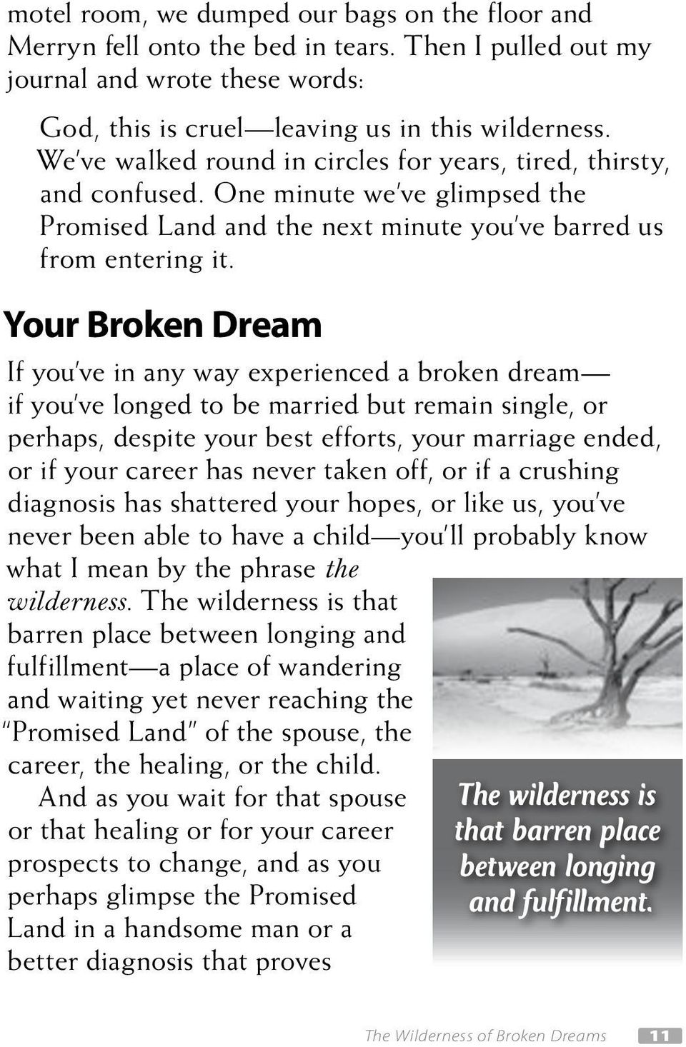 Your Broken Dream If you ve in any way experienced a broken dream if you ve longed to be married but remain single, or perhaps, despite your best efforts, your marriage ended, or if your career has