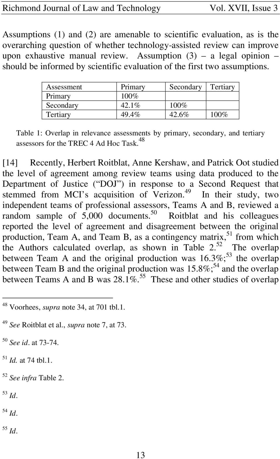 6% 100% Table 1: Overlap in relevance assessments by primary, secondary, and tertiary assessors for the TREC 4 Ad Hoc Task.