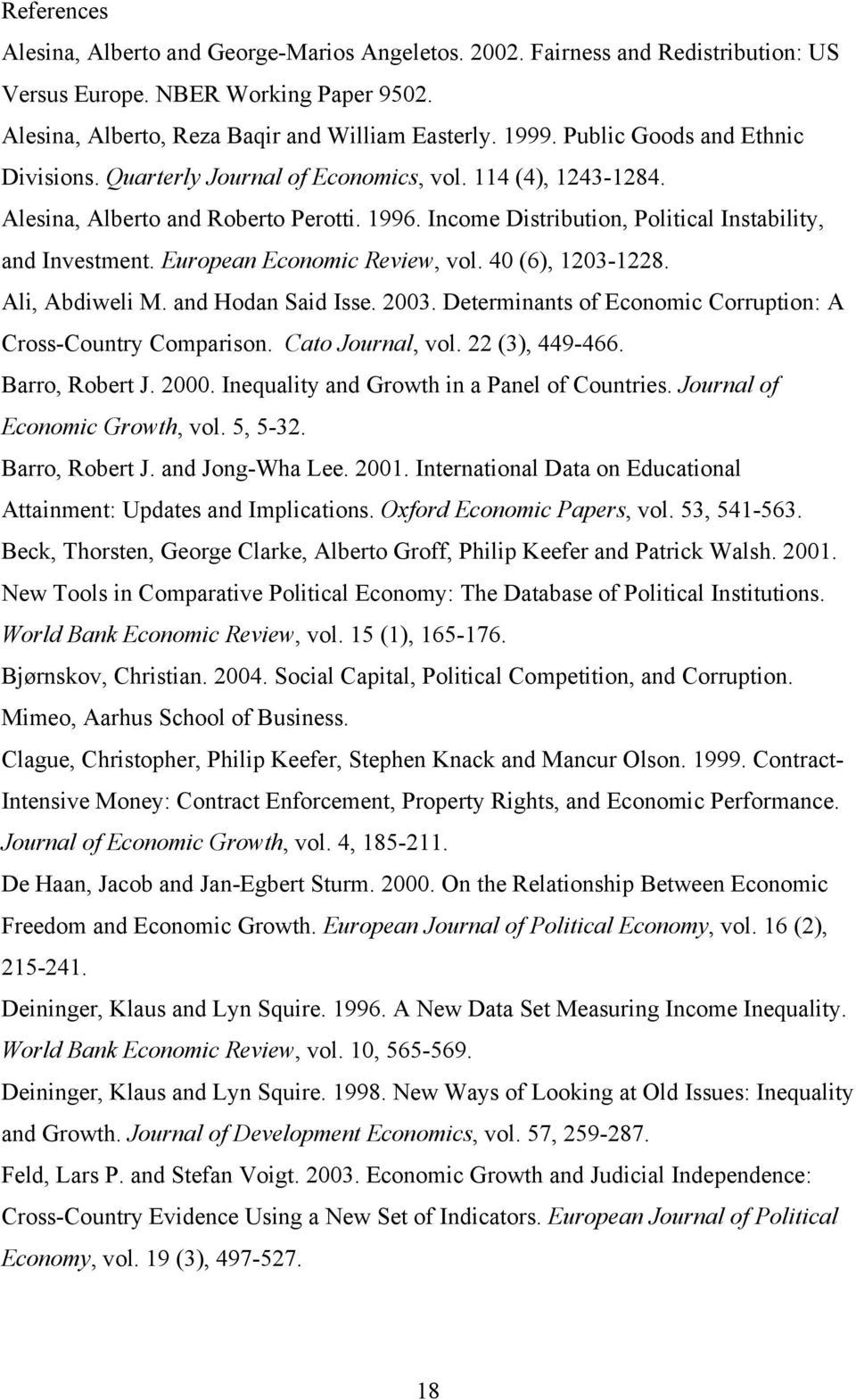 European Economic Review, vol. 40 (6), 1203-1228. Ali, Abdiweli M. and Hodan Said Isse. 2003. Determinants of Economic Corruption: A Cross-Country Comparison. Cato Journal, vol. 22 (3), 449-466.