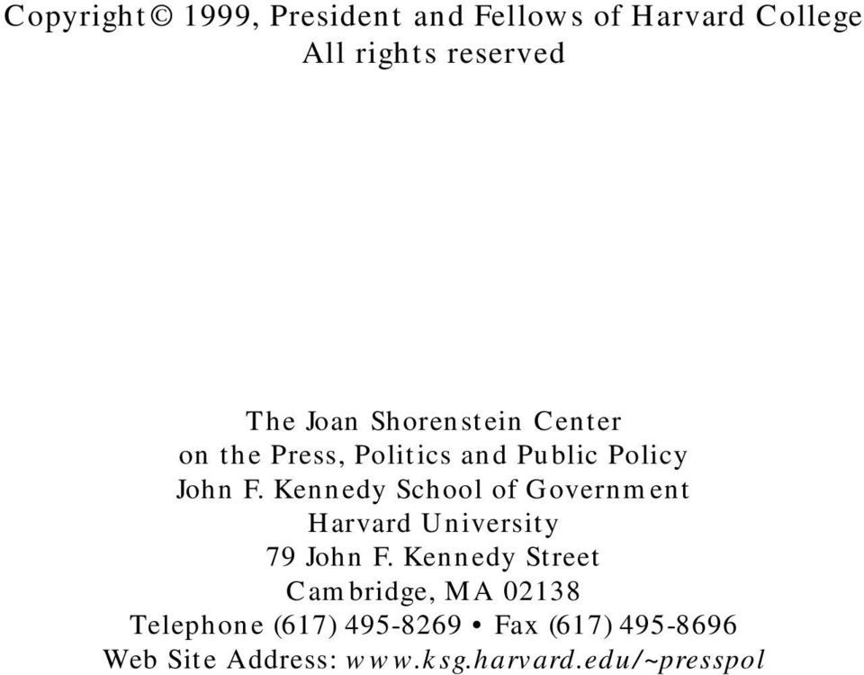 Kennedy School of Government Harvard University 79 John F.