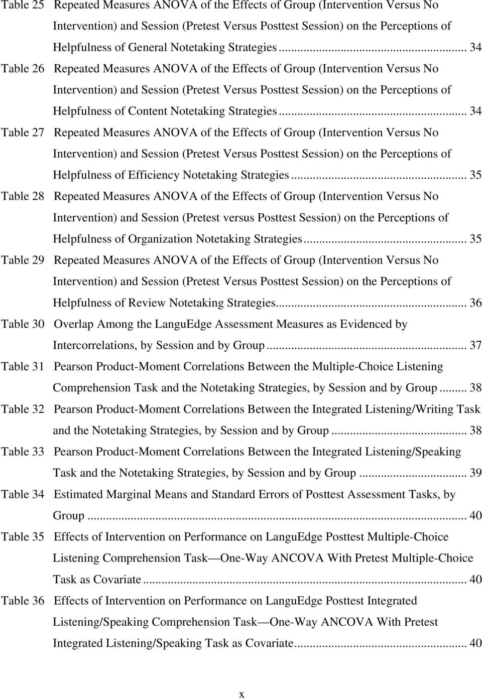 .. 34 Table 26 Repeated Measures ANOVA of the Effects of Group (Intervention Versus No Intervention) and Session (Pretest Versus Posttest Session) on the Perceptions of Helpfulness of Content