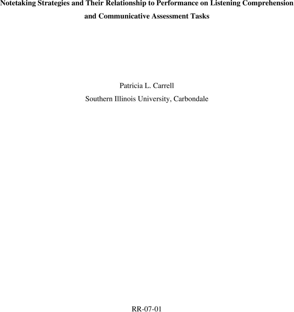 Communicative Assessment Tasks Patricia L.