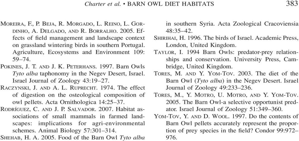 Barn Owls Tyto alba taphonomy in the Negev Desert, Israel. Israel Journal of Zoology 43:19 27. RACZYNSKI, J. AND A. L. RUPRECHT. 1974.