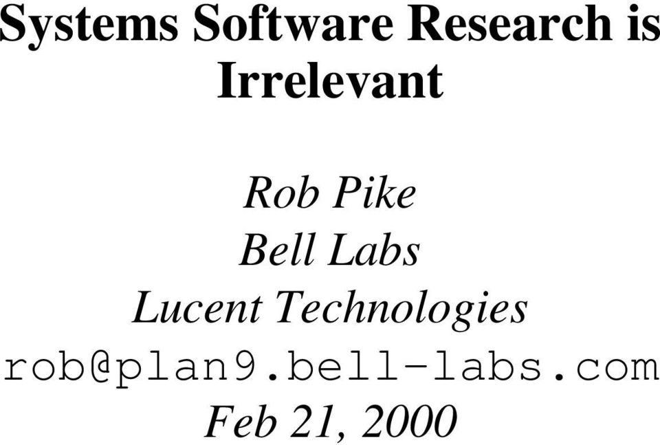 Labs Lucent Technologies