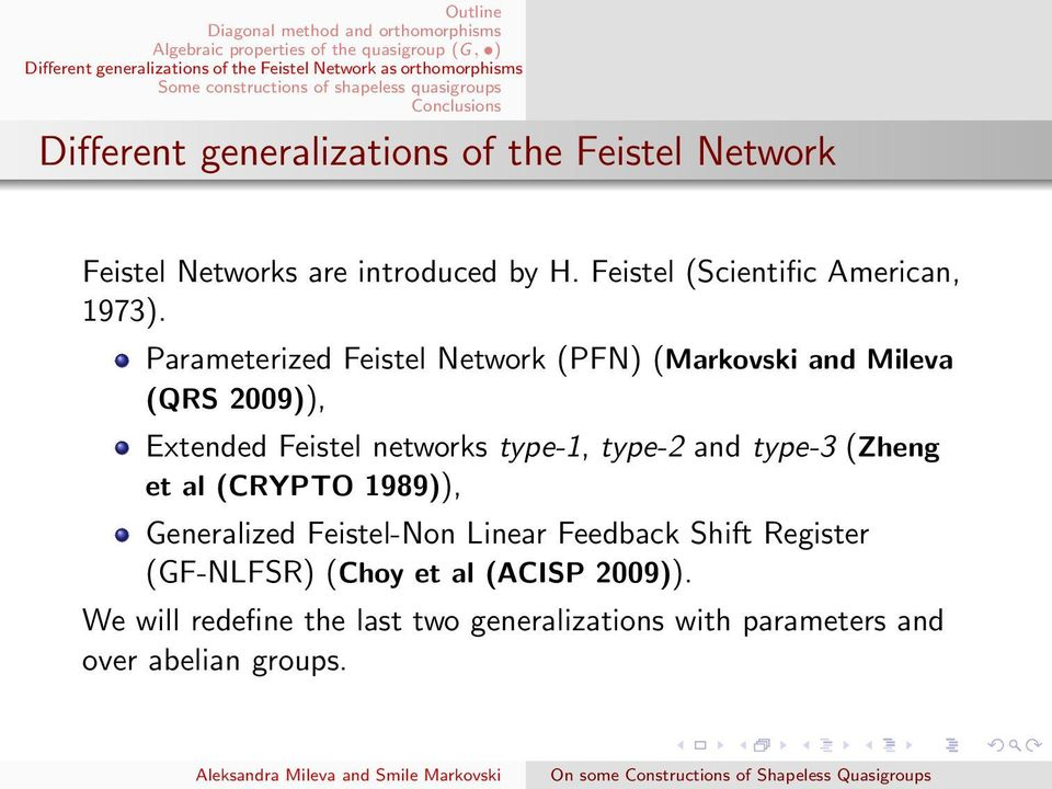 Parameterized Feistel Network (PFN) (Markovski and Mileva (QRS 2009)), Extended Feistel networks type-1, type-2