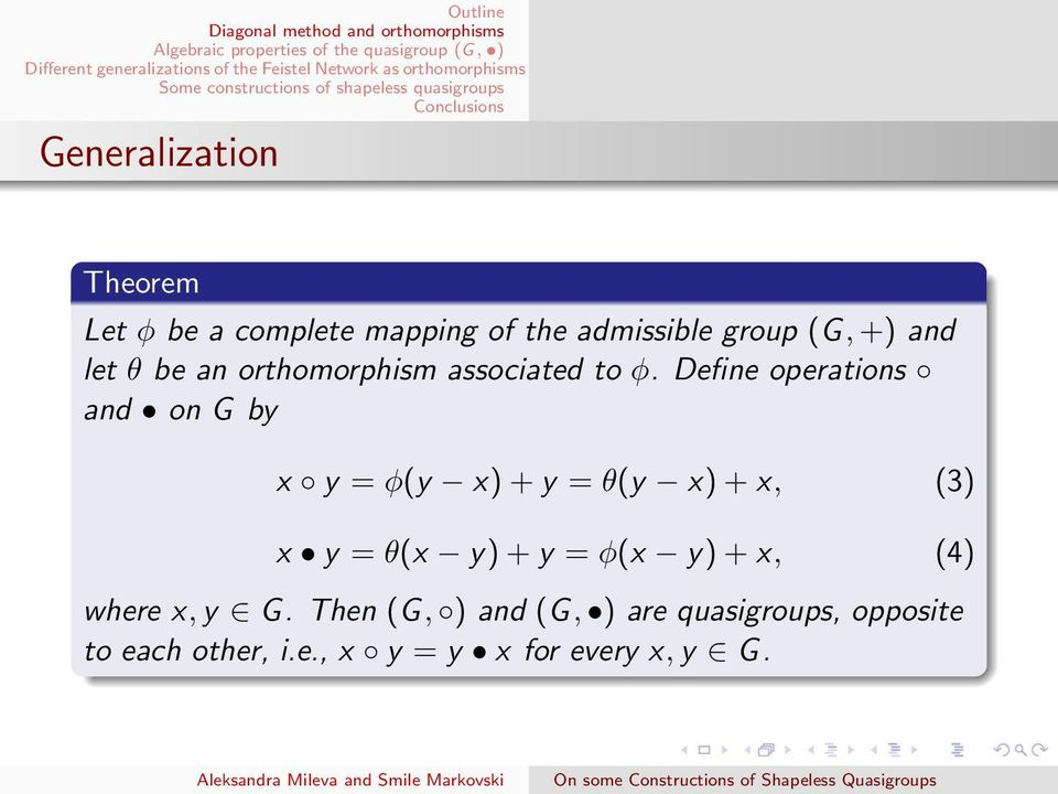 Define operations and on G by x y = φ(y x) + y = θ(y x) + x, (3) x y = θ(x y) + y =
