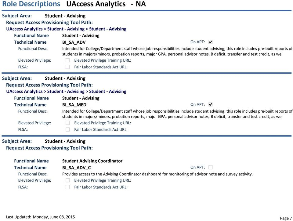 Student - Advising UAccess Analytics > Student - Advising > Student - Advising Student - Advising BI_SA_MED Intended for College/Department staff whose job responsibilities include  Student -