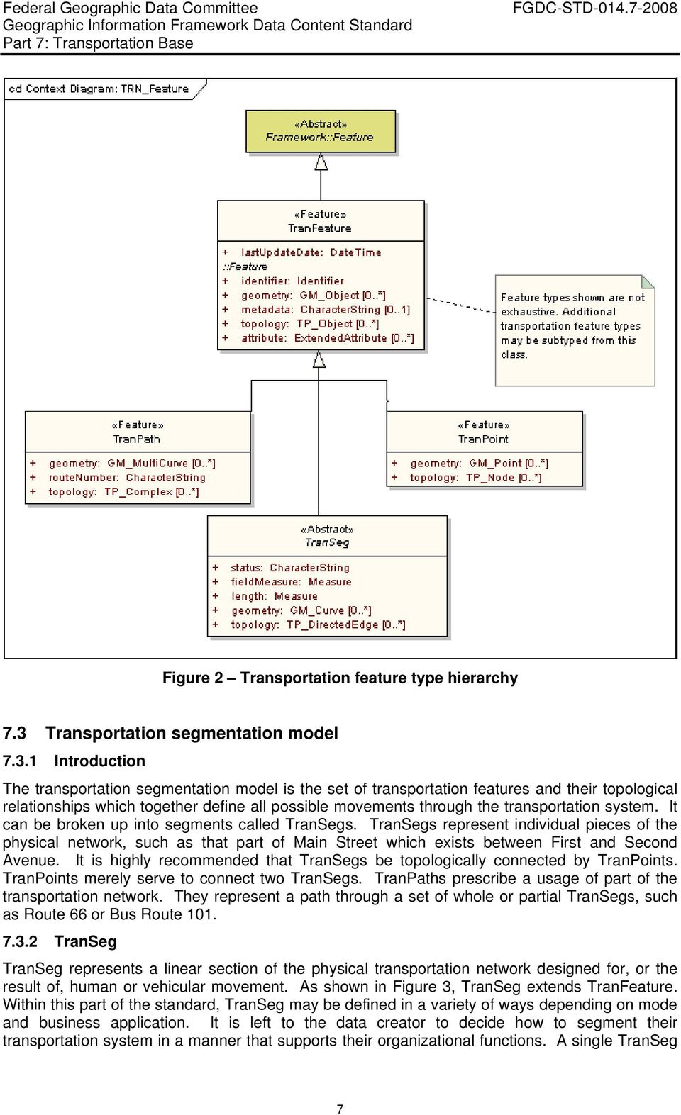 1 Introduction The transportation segmentation model is the set of transportation features and their topological relationships which together define all possible movements through the transportation
