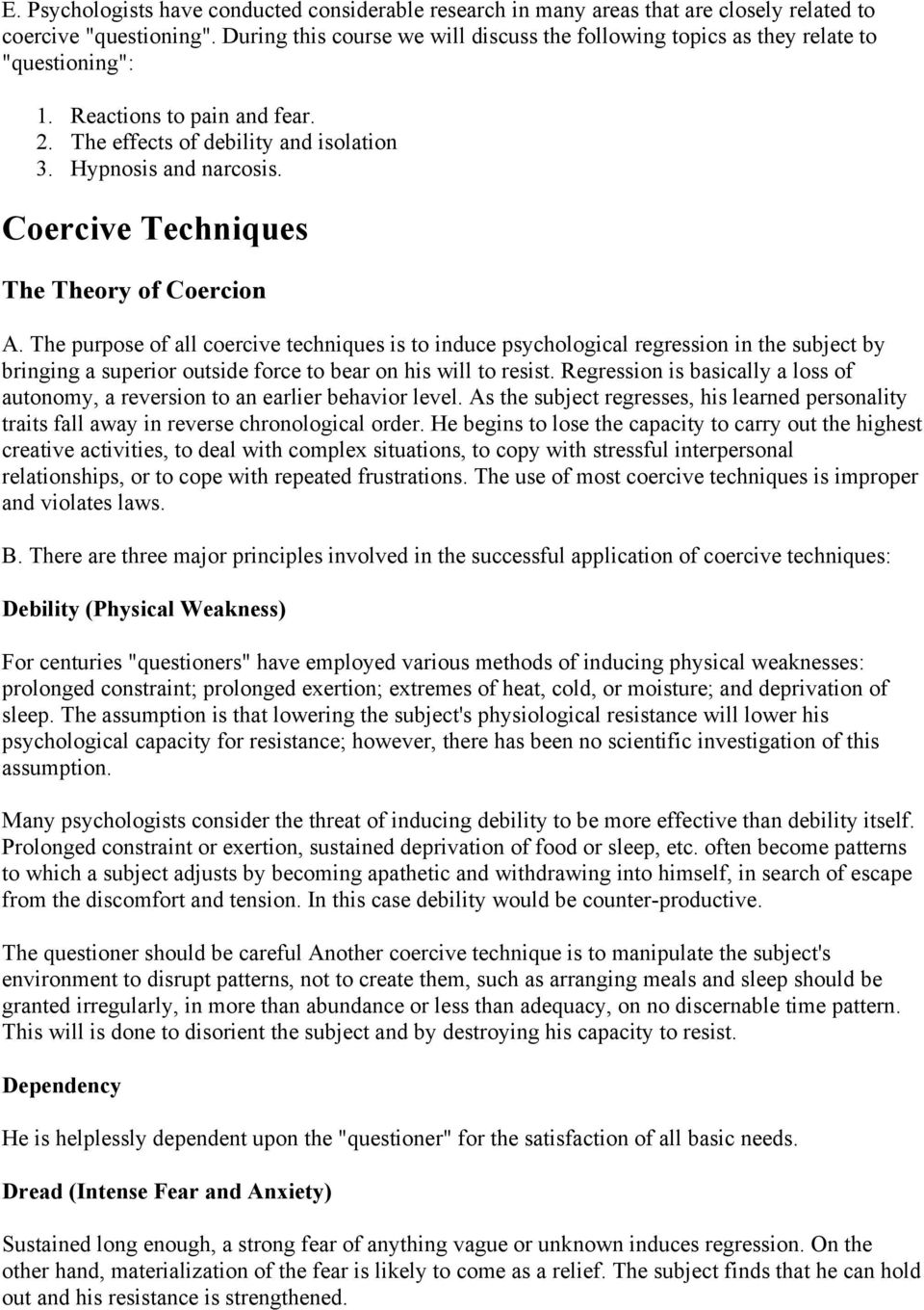 Coercive Techniques The Theory of Coercion A.