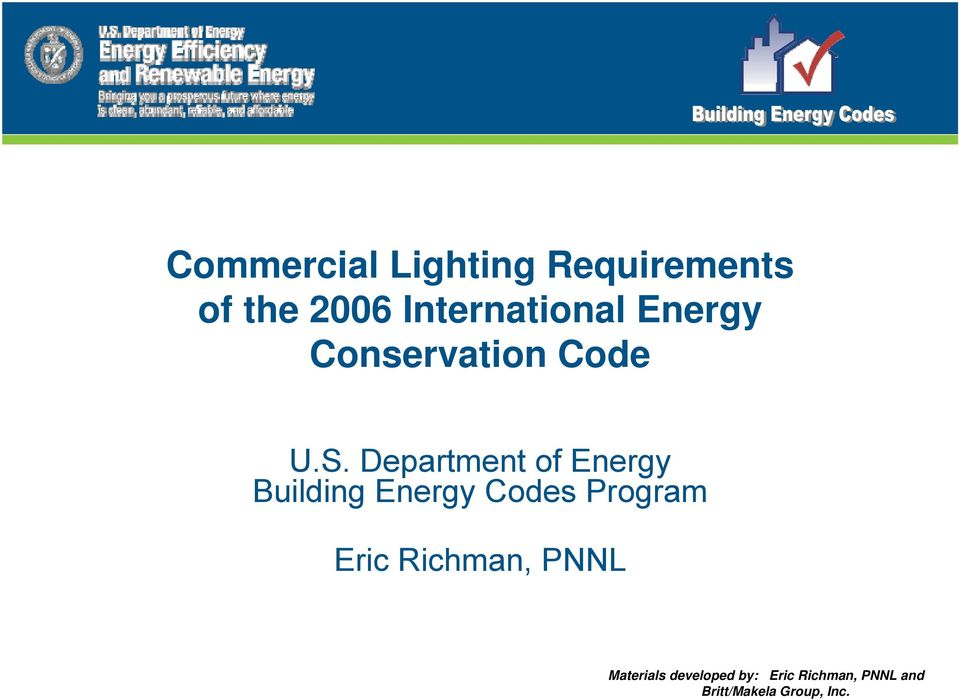 Department of Energy Building Energy Codes Program Eric