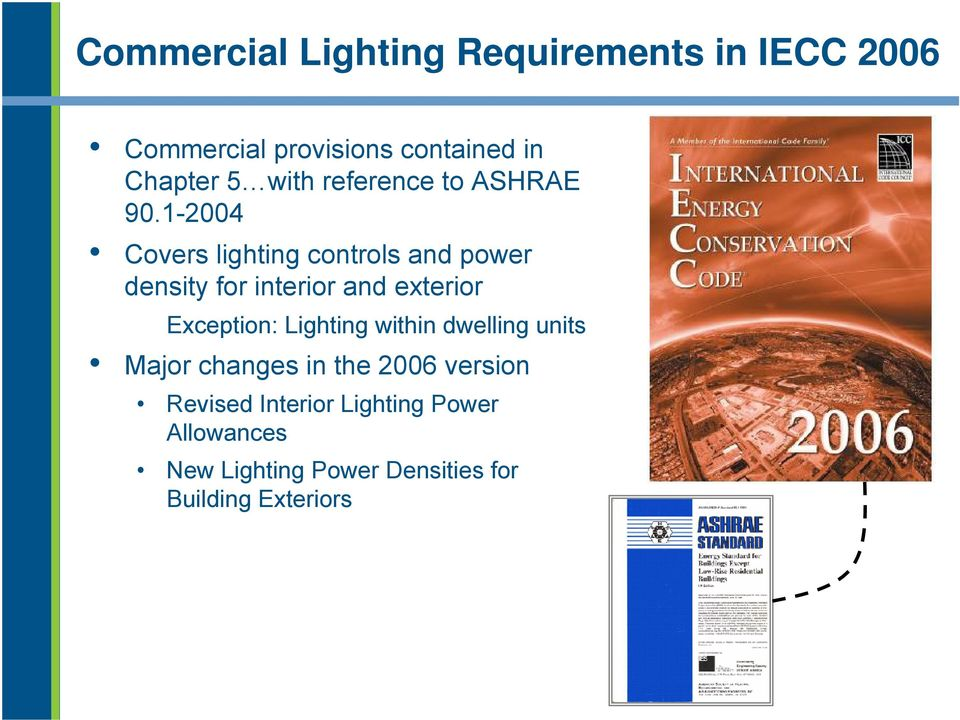 1-2004 Covers lighting controls and power density for interior and exterior Exception: