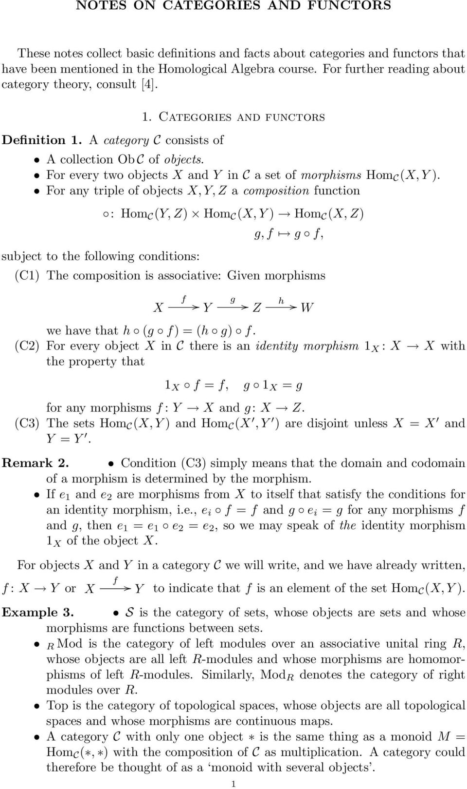 For every two objects X and Y in C a set of morphisms Hom C (X, Y ).
