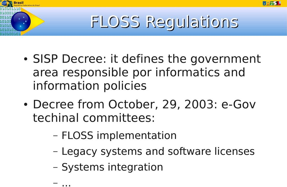 from October, 29, 23: e-gov techinal committees: FLOSS
