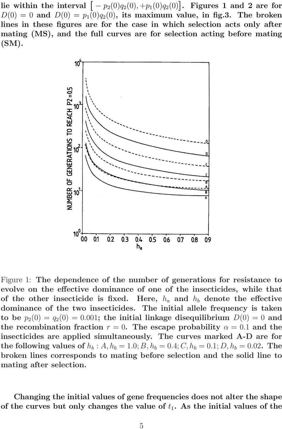 Figure 1: The dependence of the number of generations for resistance to evolve on the effective dominance of one of the insecticides, while that of the other insecticide is fixed.
