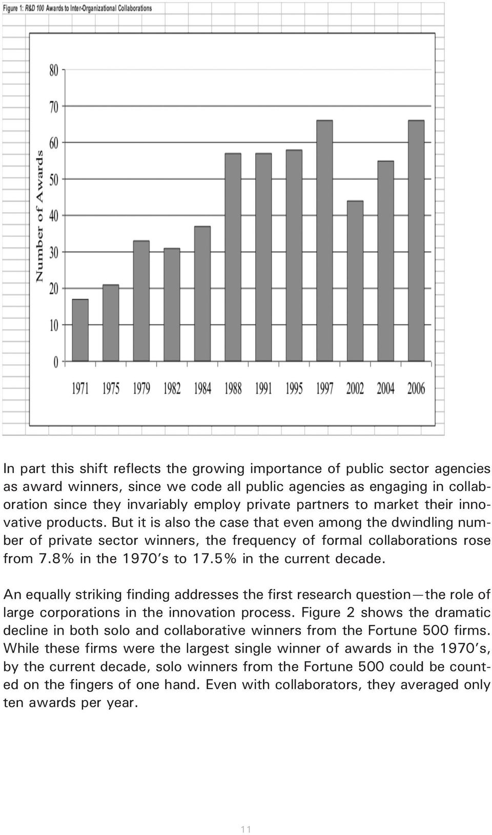 8% in the 97 s to 7.5% in the current decade. An equally striking finding addresses the first research question the role of large corporations in the innovation process.