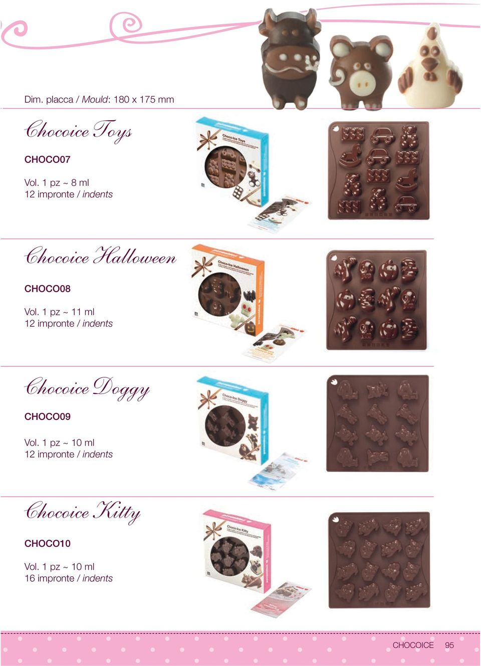1 pz ~ 11 ml 12 impronte / indents Chocoice Doggy CHOCO09 Vol.