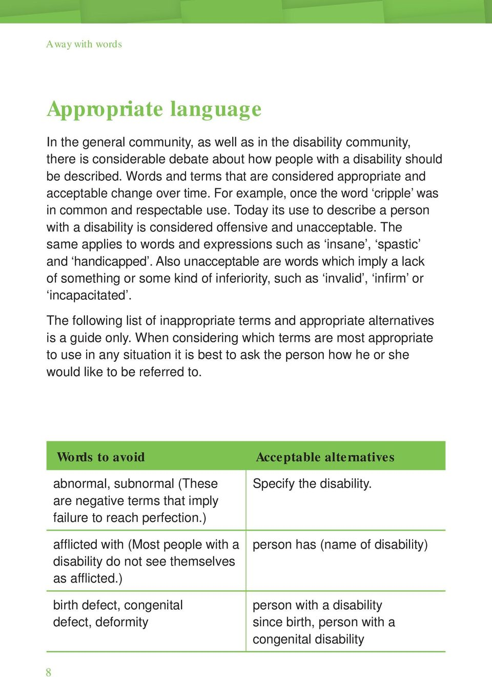 Today its use to describe a person with a disability is considered offensive and unacceptable. The same applies to words and expressions such as insane, spastic and handicapped.