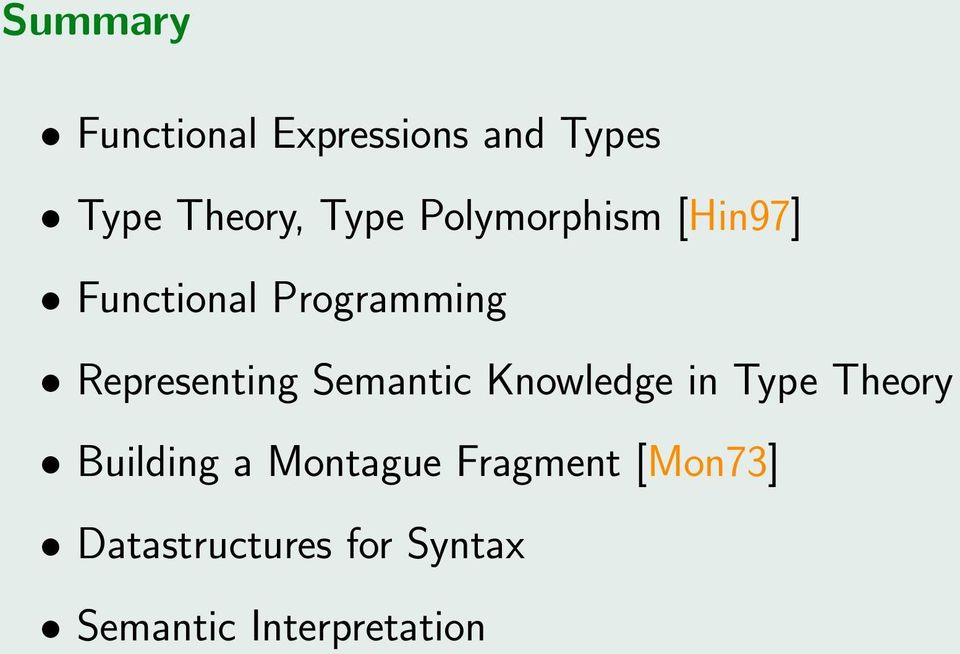 Semantic Knowledge in Type Theory Building a Montague