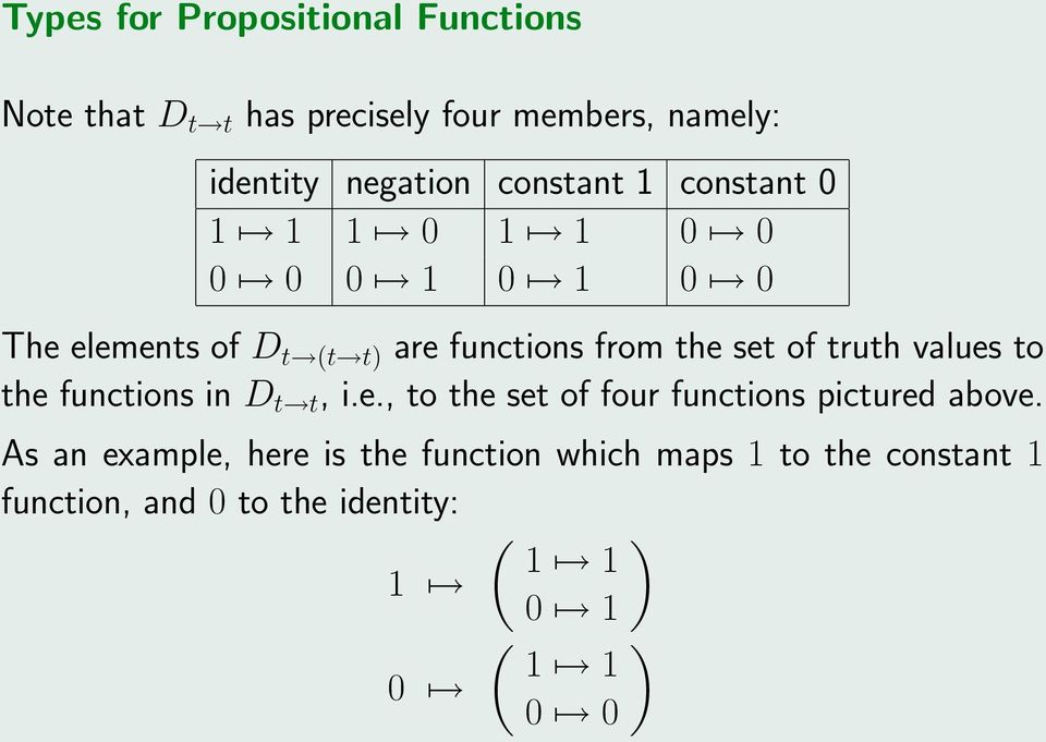 of truth values to the functions in D t t, i.e., to the set of four functions pictured above.