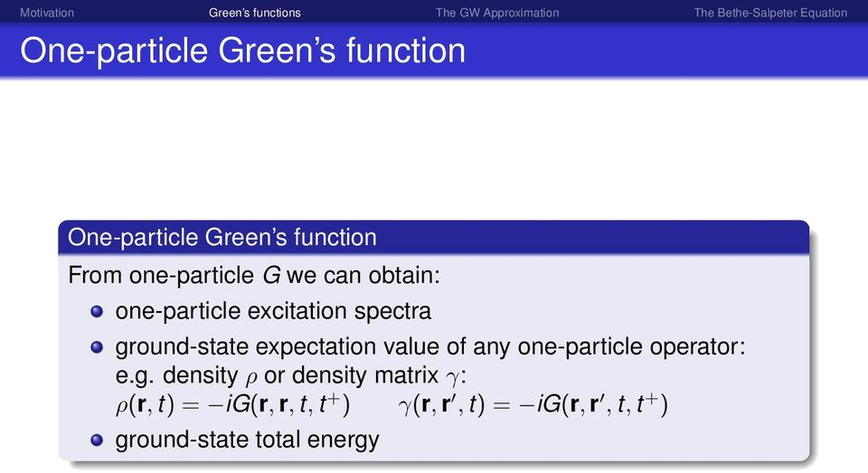 expectation value of any one-particle operator: e.g.