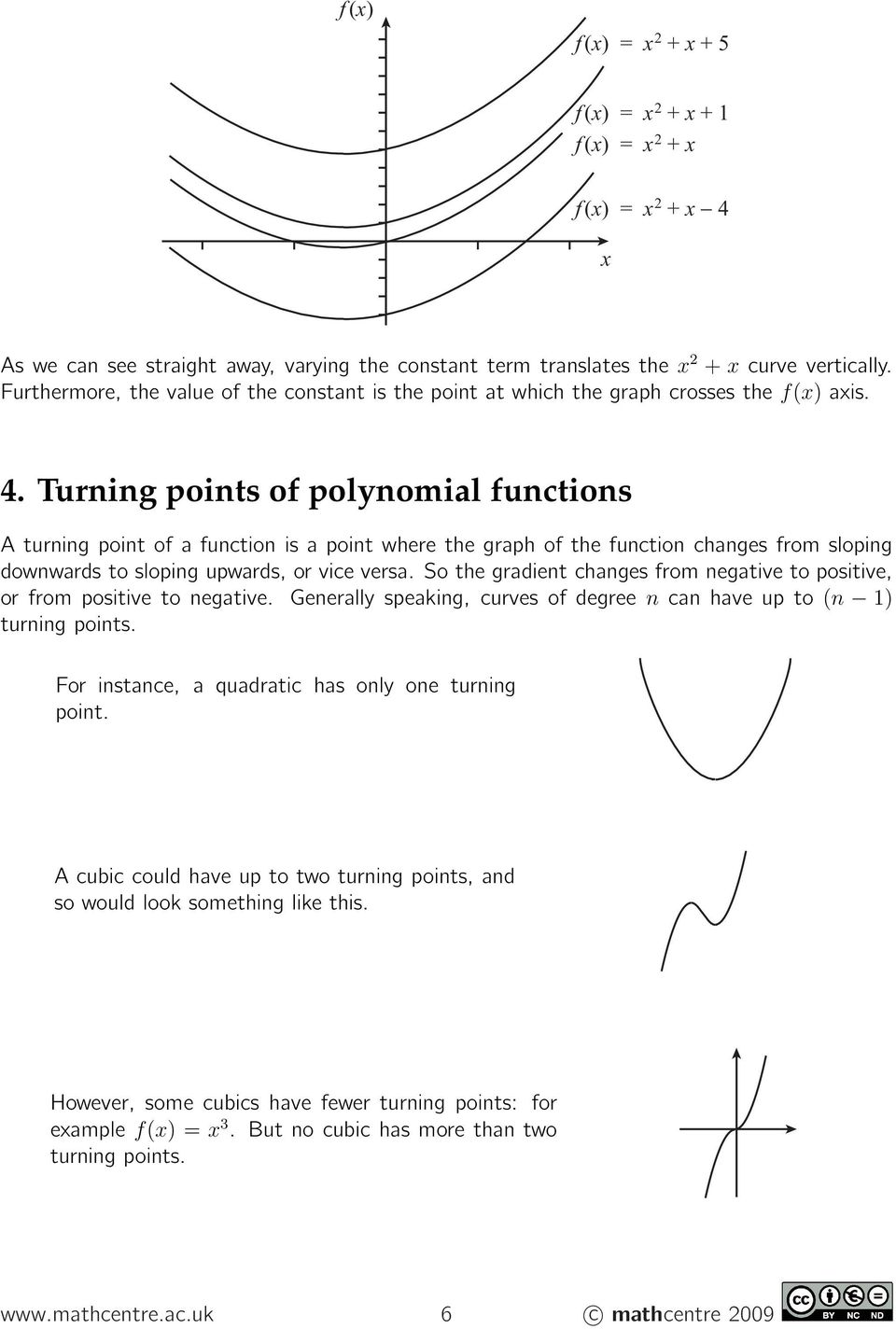 Turning points of polynomial functions Aturningpointofafunctionisapointwherethegraphofthefunctionchangesfromsloping downwards to sloping upwards, or vice versa.