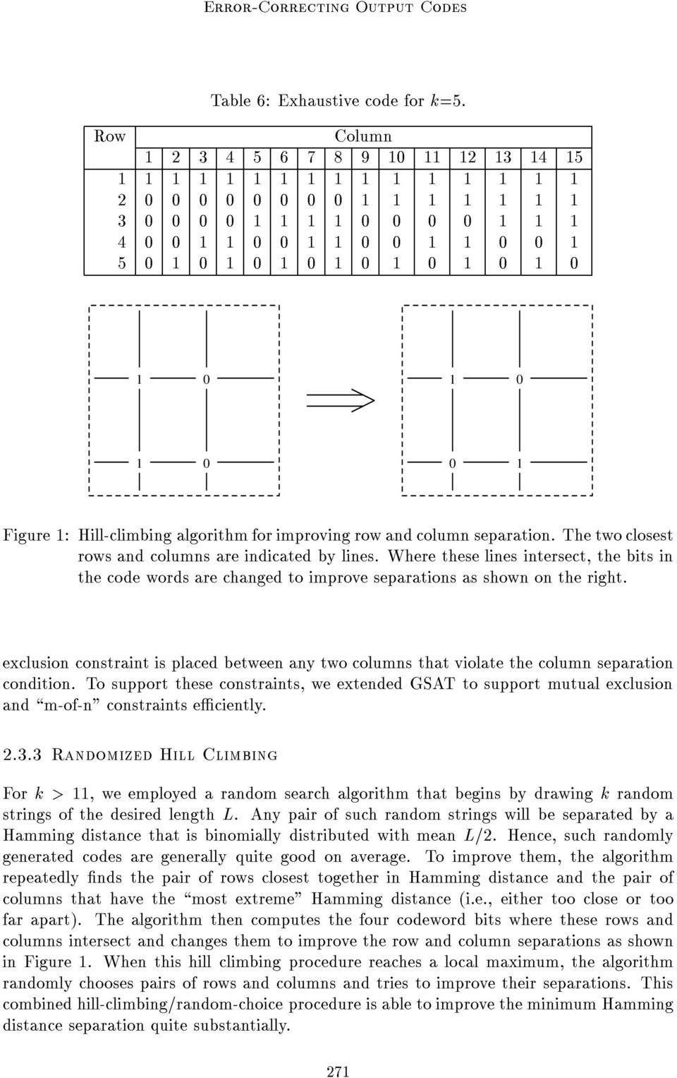1 0 1 0 1 0 1 0 1 0 0 1 Figure 1: Hill-climbing algorithm for improving row and column separation. The two closest rows and columns are indicated by lines.