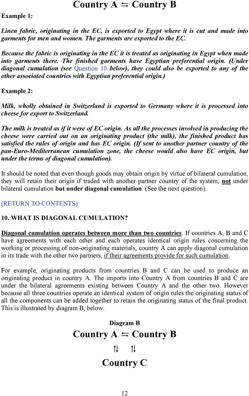 (Under diagonal cumulation (see Question 10 below), they could also be exported to any of the other associated countries with Egyptian preferential origin.