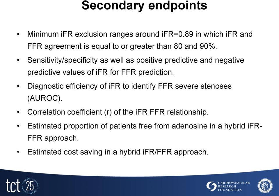 Sensitivity/specificity as well as positive predictive and negative predictive values of ifr for FFR prediction.