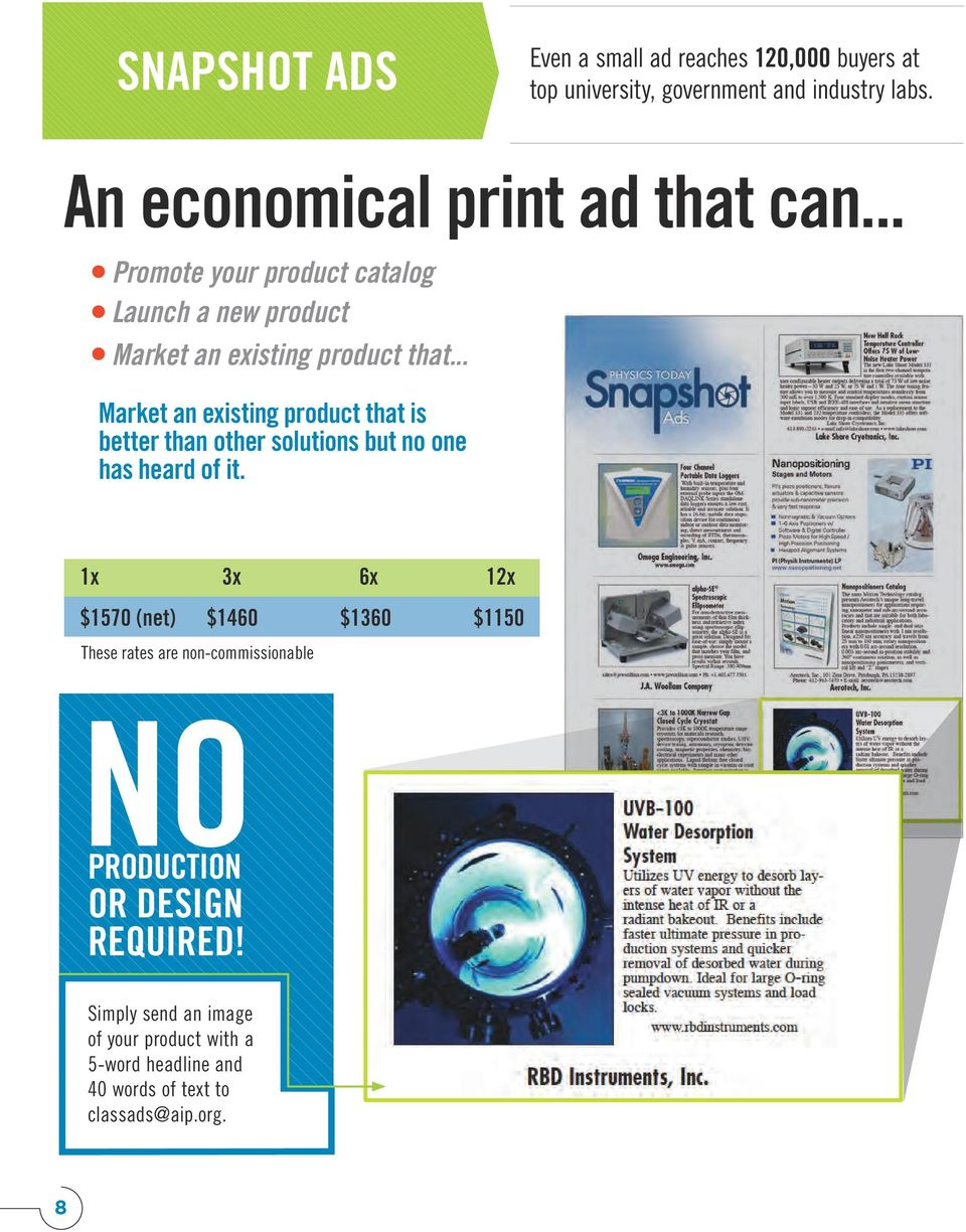 et 1x 3x 6x 12x NO PRODUCTION OR DESIGN REQUIRED! Ad shown to size. ad reaches 120,000 ity, government Simply send an image each spending an of your product with a per year in scientific ces.