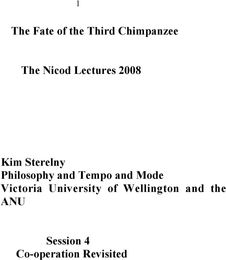 Tempo and Mode Victoria University of