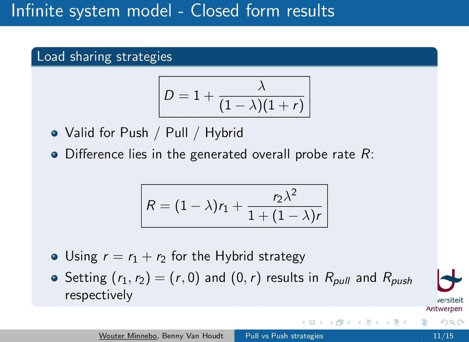 1 + (1 λ)r Using r = r 1 + r 2 for the Hybrid strategy Setting (r 1, r 2 ) = (r, 0) and (0, r)