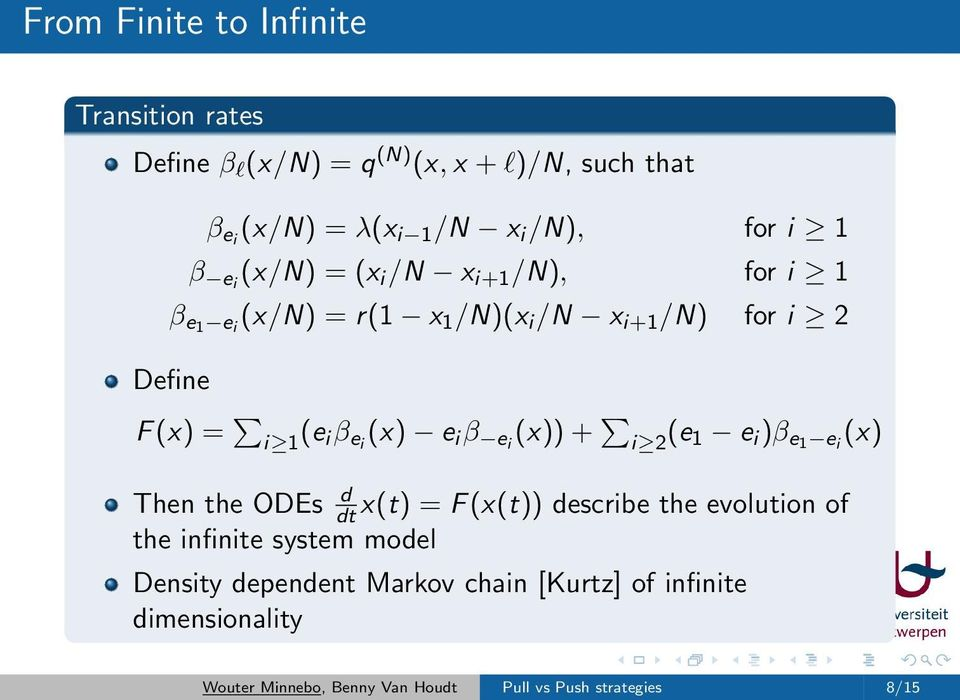 e i β ei (x)) + i 2 (e 1 e i )β e1 e i (x) Then the ODEs d dt x(t) = F (x(t)) describe the evolution of the infinite system