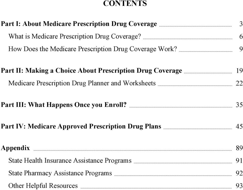 9 Part II: Making a Choice About Prescription Drug Coverage 19 Medicare Prescription Drug Planner and Worksheets 22 Part