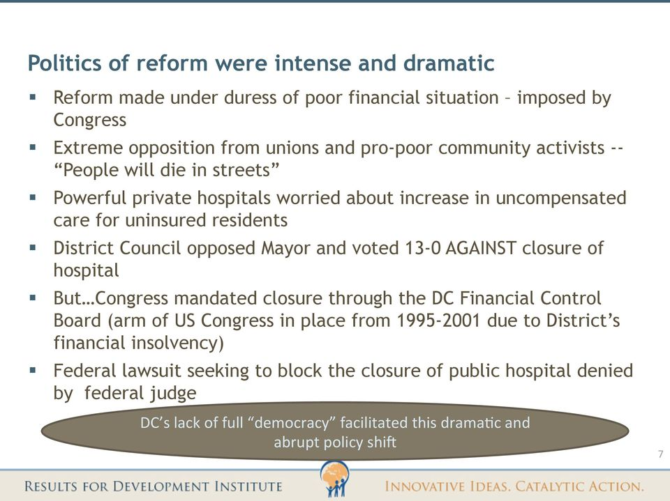 voted 13-0 AGAINST closure of hospital But Congress mandated closure through the DC Financial Control Board (arm of US Congress in place from 1995-2001 due to District s