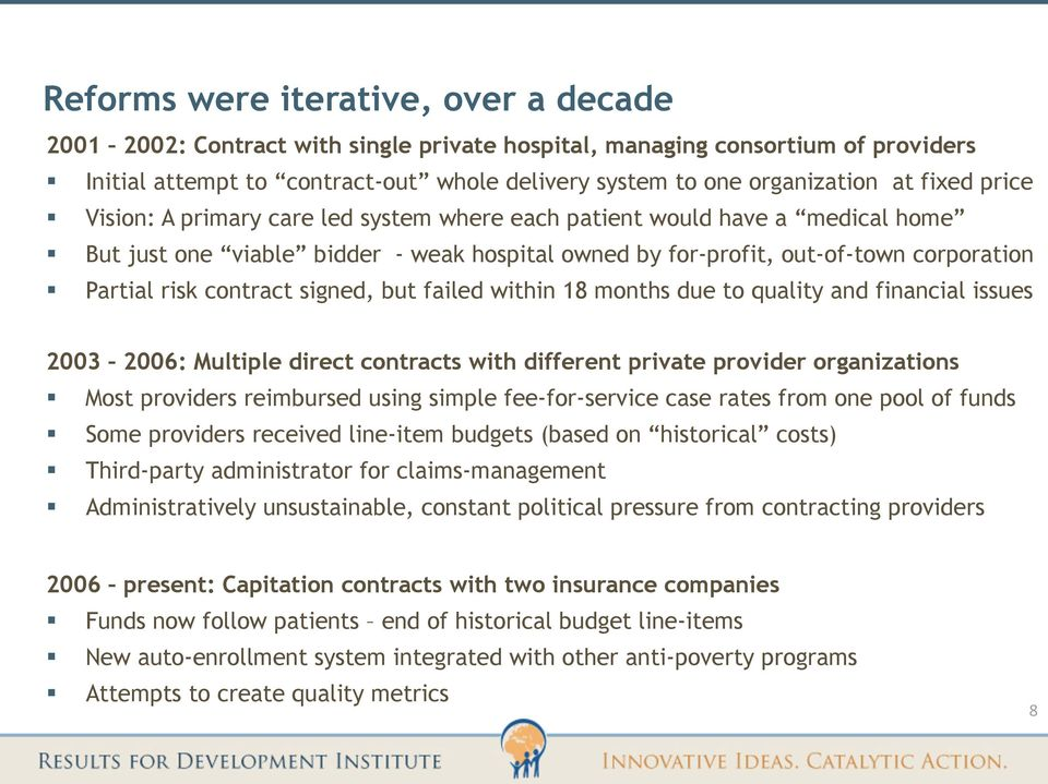 contract signed, but failed within 18 months due to quality and financial issues 2003 2006: Multiple direct contracts with different private provider organizations Most providers reimbursed using